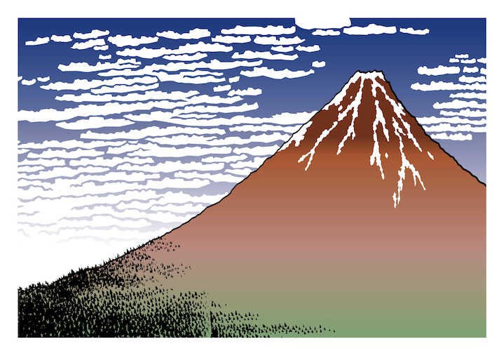 Gambar Pemandangan Fuji merah